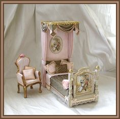 Miniature Bed and Chair - 64 (jt-beautifully dressed childs bed from Simply Silk - would look lovely in the nursery) Miniature Dollhouse Furniture, Vintage Dollhouse, Miniature Rooms, Dollhouse Dolls, Miniature Houses, Dollhouse Miniatures, Victorian Dollhouse, My Doll House, Victorian Dolls