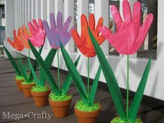 Handprint Tulips Good idea for Grandma's Mothers Day gift.