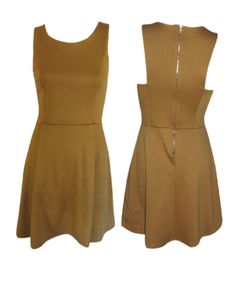 Back Zip Sleeveless Flared Dress - Gold #shoppitaya