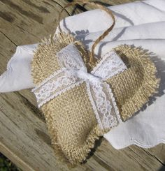 Rustic burlap and lace heart ornaments or hangers