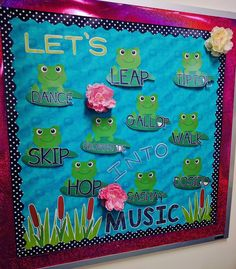 Lets Hop Into Music Bulletin Board - reinforce movement vocabulary in the music room with this fun frog themed bulletin board set. Perfect for the elementary music classroom. Frog Bulletin Boards, Summer Bulletin Boards, Classroom Bulletin Boards, Music Classroom, Music Teachers, Classroom Ideas, Apple Classroom, Bullentin Boards, Movement Words