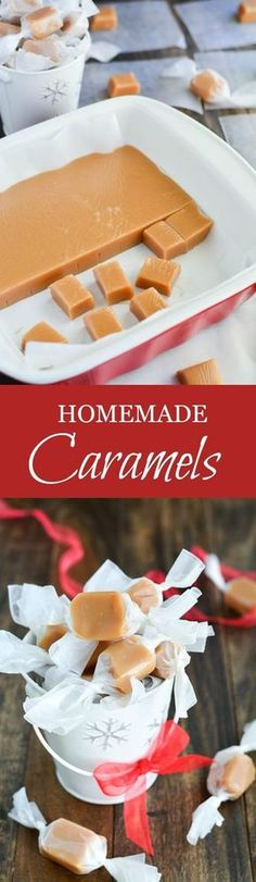 These soft, buttery, melt-in-your-mouth Homemade Caramels are the perfect sweet gift for any occasion.These soft, buttery, melt-in-your-mouth Homemade Caramels are the perfect sweet gift for any occasion. Holiday Baking, Christmas Baking, Christmas Treats, Christmas Candy, Homemade Christmas, Halloween Christmas, Holiday Treats, Holiday Gifts, Homemade Caramels