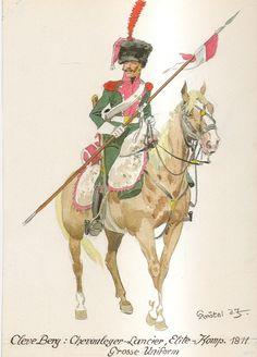 Cleve Berg: Chevauleger-Lancier, Elite-Komp., Grosse Uniform - 1811 Empire, Holland, Royal Guard, French Revolution, Napoleonic Wars, Warfare, Military, History, Illustration