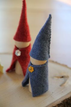 Three wooden felt gnome - in the colors of your choice. $10.00, via Etsy.