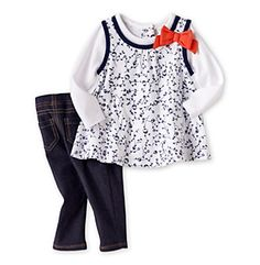 Product: Cuddle Bear® Baby Girls' Navy 2-pc. Tunic and Jeggings Set