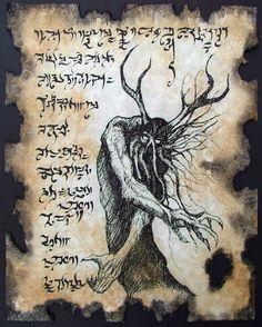 FOREST DEMON Necronomicon Fragment by zarono on Etsy