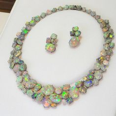 Amazing necklace and earrings Set with Black Opal