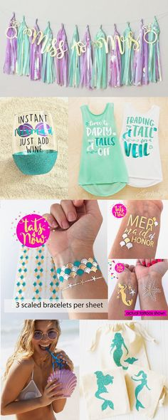 Super fun mermaid themed party ideas for your mermaid bachelorette party. Check out our long lasting best quality mermaid tattoos....