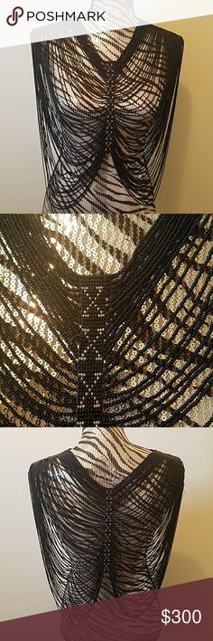 Handcrafted seed bead necklace vest Black and gold seed beads Jewelry Necklaces