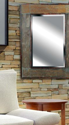 White River Wall Mirror In Natural Slate
