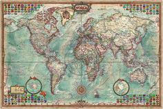 Rayworld Executive World Map - wereldkaart in antiekstijl - Ray & Co [9789539578334] - € 28.50 : Reisboekhandel Pied a Terre, Specialist in ...