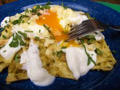 Chilaquiles - Tortillas & eggs with salsa verde, breakfast of champions!