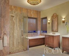 One of the many configurations available in this RODA by Basco Dresden Collection completes this beautiful bath.