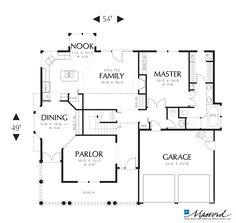 Main Floor Plan of Mascord Plan 2281 - The Lyndon - Victorian Plan with Wrap-around Porch