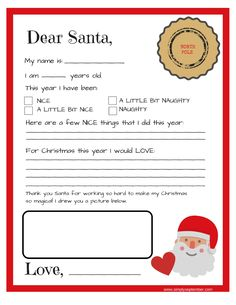 FREE printable. Letter to Santa. Allow your child to personalize this letter and download it free from www.simplyseptember.com. Follow up with Simply September's Letter from Santa as well!