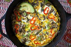 Frittata with hen of the woods mushrooms, scallions, sweet pepper and avocado | CrepesOfWrath