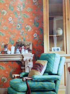 Traditional patterns in today's new vivid colors. Jacobean floral from http://lelandswallpaper.com.
