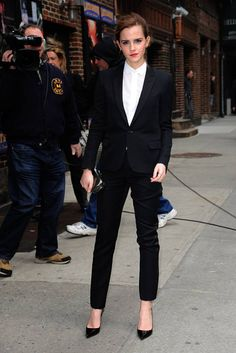 Emma Watson just can't get enough of rocking the trouser trend