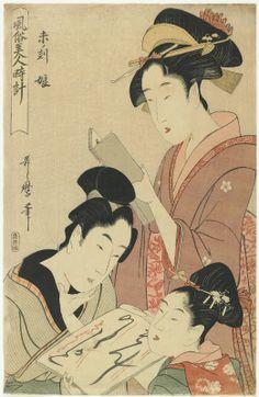 Kitagawa Utamaro: Hitsuji (Hour of the goat) / Fuzoku Bijin Toka - British Museum