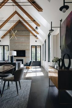 This modern farmhouse was designed as a dream home for a pair of empty-nesters by G.O. Architectural Design, located in Wheaton, Illinois. Home And Living, Living Room, Small Living, Modern Living, Interior Architecture, Interior Design, Modern Cabin Interior, Modern Farmhouse Interiors, White Walls