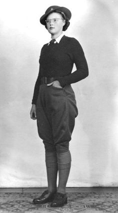 A member of the Women's Land Army in uniform. Fashion inspiration for Stagecraft.