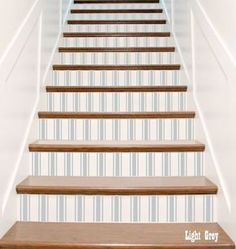 Decorative Fabric Stripes Ticking Vinyl Stair Riser Decals . Decor Steps Stickers . Your Choice of Color and Quantity by crowbabys on Etsy