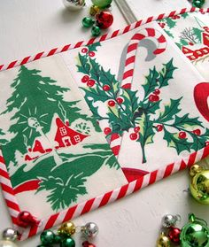 Vintage Tablecloths made into a Christmas Tablerunner and Bunting, Great way to use vintage linens that have issues! ~ Mary Walds Place - Into Vintage: 'Tis the Season Giveaway Vintage Christmas Crafts, Old Christmas, Christmas Sewing, Christmas Makes, Christmas Fabric, Retro Christmas, Christmas Stockings, Xmas, Christmas Projects