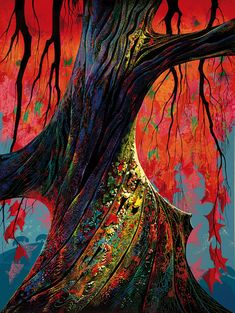 """Fire red and gold"" by Eyvind Earle"