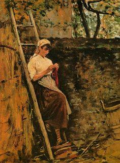 Lega, Silvestro, (1826-1895), Country Girl Leaning against a Ladder, 1885, Oil