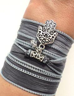Hamsa Silk Wrap Bracelet Evil Eye Yoga by BohemianEarthDesigns, $28.95