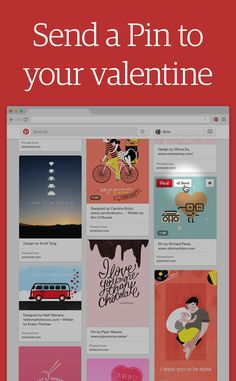 Send a Pin to Your Valentine! : Click the paper airplane at the top of any Pin to send it their way. Or if you're on your phone, just press and hold on whatever Pin you want to send.