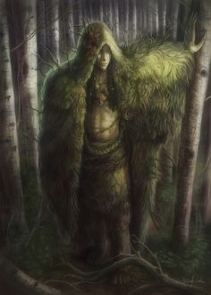 Ghillie Dhu Gille Dubh - A benevolent fairy who was said to haunt a birch grove at the end of Loch Druing near Gairloch. It wore clothes of moss and lichen and had black hair #scottish #scotland #folklore