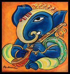 Lord Ganesha Paintings, Ganesha Art, Indian Contemporary Art, Folk Print, Easy Paintings, Acrylic Paintings, Oil Paintings, Indian Folk Art, Traditional Paintings