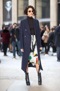 Yasmin Sewell in Celine skirt.