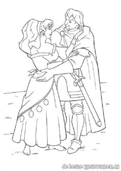 The Hunchback of Notre Dame coloring book pages - Esmeralda and Phoebus 3 Cartoon Coloring Pages, Coloring Book Pages, Coloring Pages For Kids, Coloring Sheets, Adult Coloring, Disney Princess Coloring Pages, Disney Princess Colors, Disney Colors, Arte Disney