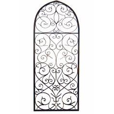 Distressed Wooden Tan Frame Wrought Iron Fleur de Lis Wall Decor ...