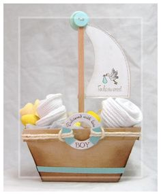 Party favour for Baby Boys Shower.  Use base of small picnic basket template