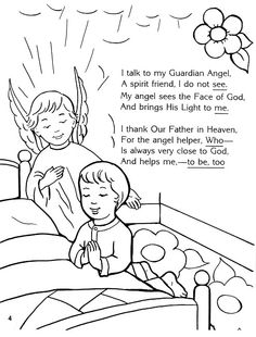 guardian angel prayer coloring pages   Religion lesson ideas on Pinterest   Catholic, Catholic ...