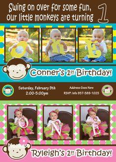 Twins 1st Birthday Mod Monkey Invite Mod Monkey Invitation Boy Girl - 1st Birthday Party Twins  pictures invite - 1 year old invite Twin, via Etsy.