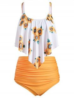 Plus Size Overlay Sunflower Print Ruched Bikini Set - Cheapest and Latest women & men fashion site including categories such as dresses, shoes, bags and - Plus Size Bikini Bottoms, Women's Plus Size Swimwear, Sunflower Bikini, Sunflower Print, Girls Bathing Suits, Looks Plus Size, Outfit Trends, Cute Swimsuits, Bikini Set