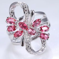 Unique Jewelry - Fashion Jewelry 925 Silver Ruby Flower Women Wedding Engagement Ring Size 10