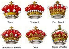 Royal and noble ranks - nobility titles Royal Crowns, Royal Jewels, Tiaras And Crowns, Crown Jewels, Crown Royal, Noble Ranks, British Nobility, British Royal Families, British Royal Titles