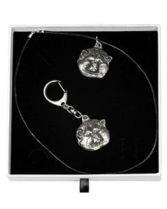 NEW, Akita Inu, Japanese Akita, dog keyring and necklace in casket, ELEGANCE set, limited edition, ArtDog >>> Check this awesome product by going to the link at the image.