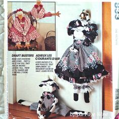 CRAFTS Uncut PATTERN 1993 McCALLS 833 Draft Busters Dolls Cow Chicken 3-oz