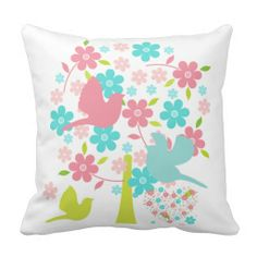 Blossoming Tree With Birds Pillow #birds #pink #blue #green #blossoms #throw #pillows #zazzle