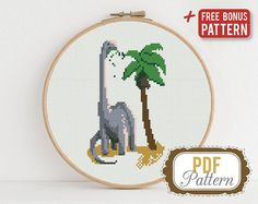 Dinosaur Cross stitch pattern Funny Palm Animal Dino Grey Cross stitch pattern PDF Format Instant Download Home decor Modern