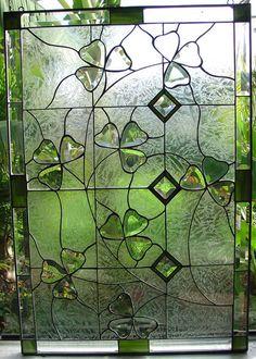 Panneau de la fenêtre de biseauté & Stained Glass Shamrock Irish - nous faisons un travail personnalisé !