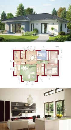 Bungalow Haus mit Walmdach - Grundriss Einfamilienhaus Evolution 111 V6 Bien Zenker Fertighaus - HausbauDirekt.de Little House Plans, Dream House Plans, Modern House Plans, Small House Plans, Home Building Design, Home Design Plans, Building A House, Sims House Design, Small House Design