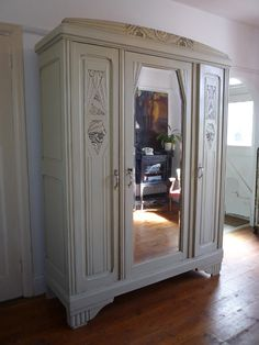 Painted French Triple Art Deco Armoire with original fittings