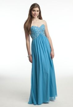 Camille La Vie grecian dress with beaded rows on the sweetheart necklined bodice and a chiffon skirt.